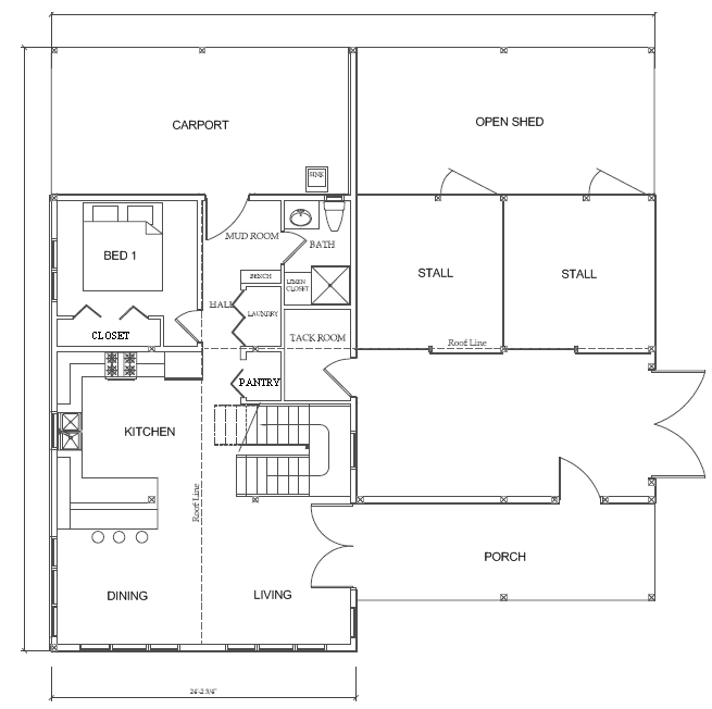 The western classic sample interior floor plans for House barn combo plans